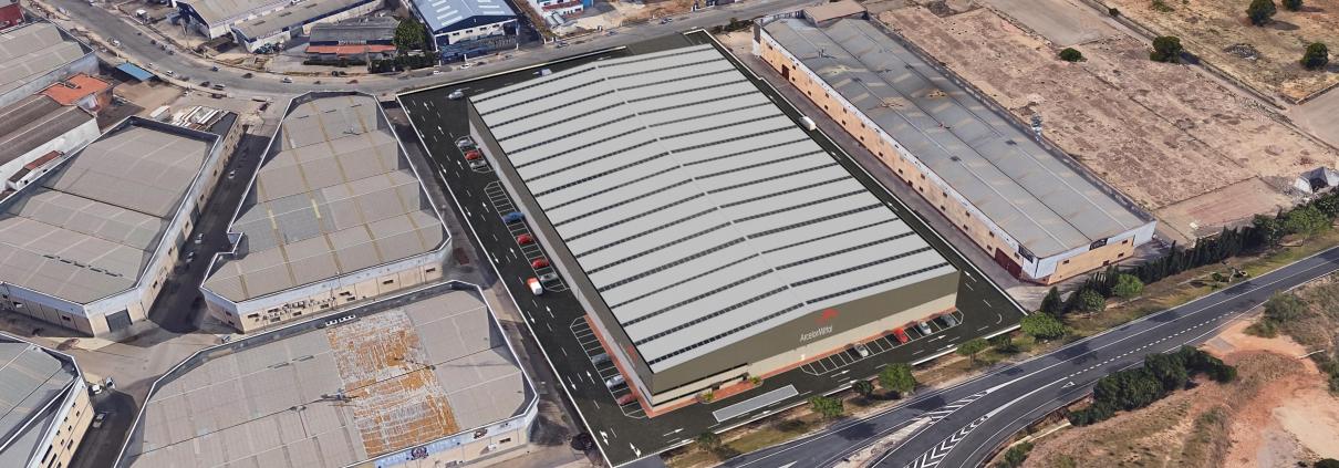 Vista aérea 3D de la plataforma logística de Arcelor en Picassent